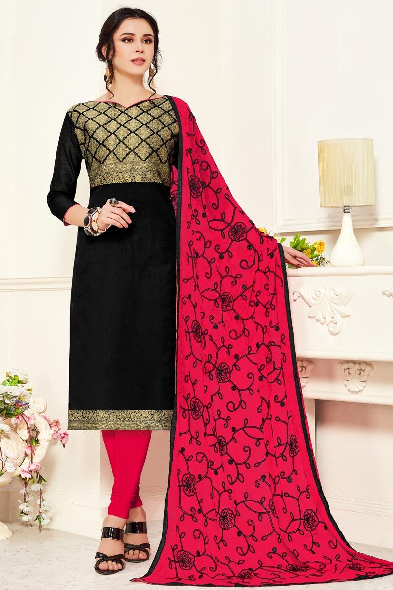 Casual Wear Banarasi Fabric Straight Cut Black Color Suit