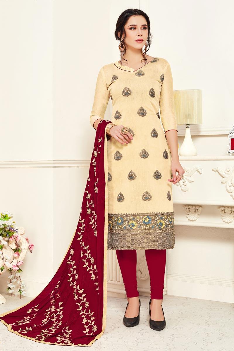 Banarasi Fabric Casual Wear Beige Color Straight Cut Dress