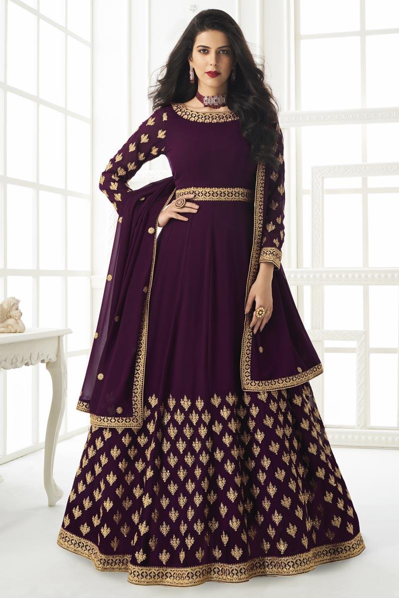 Purple Color Embroidery Work Designer Wedding Wear Georgette Fabric Anarkali Suit