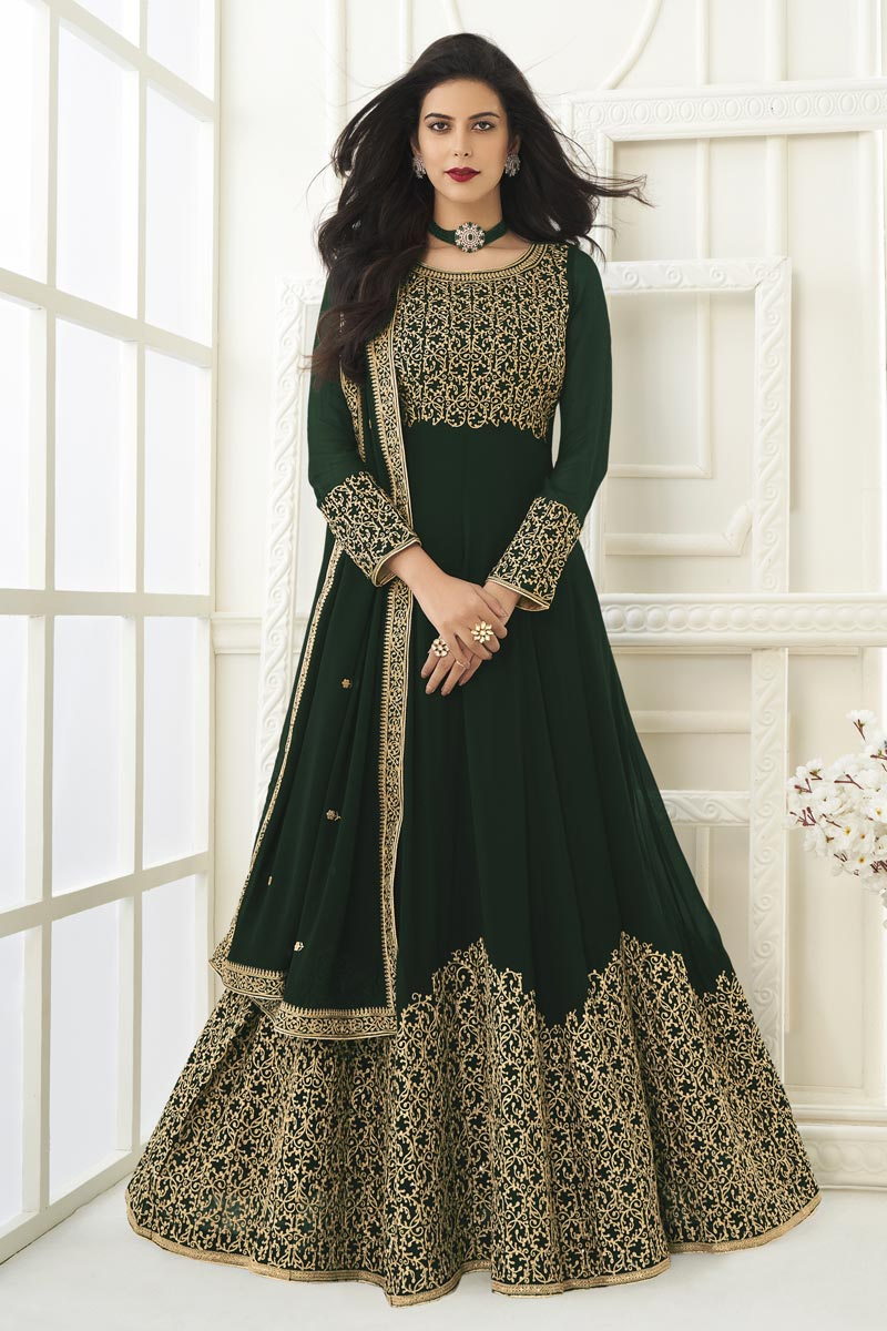 Dark Green Color Georgette Fabric Embroidery Work Function Wear Fancy Anarkali Suit