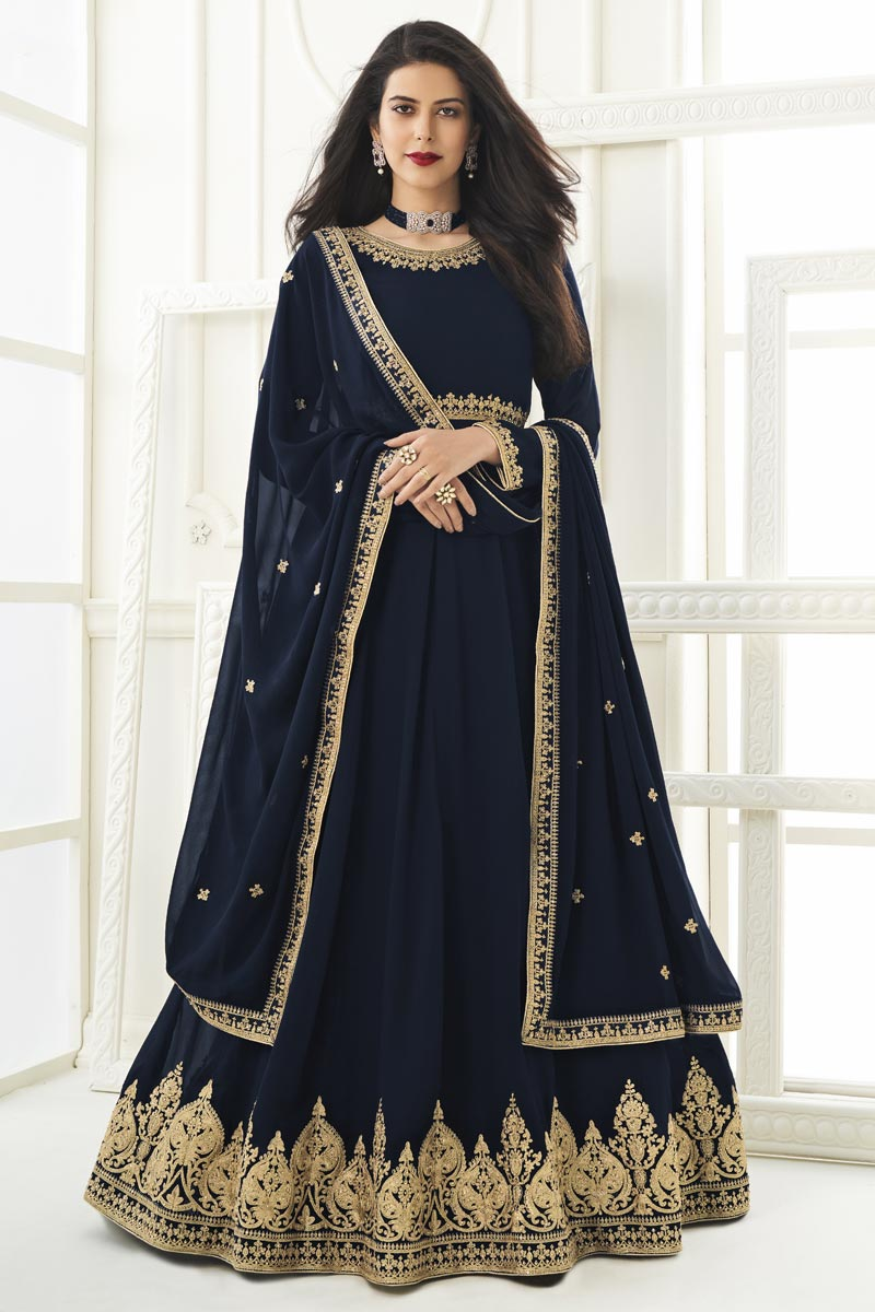 Georgette Fabric Embroidery Work Festive Wear Trendy Anarkali Suit In Navy Blue Color