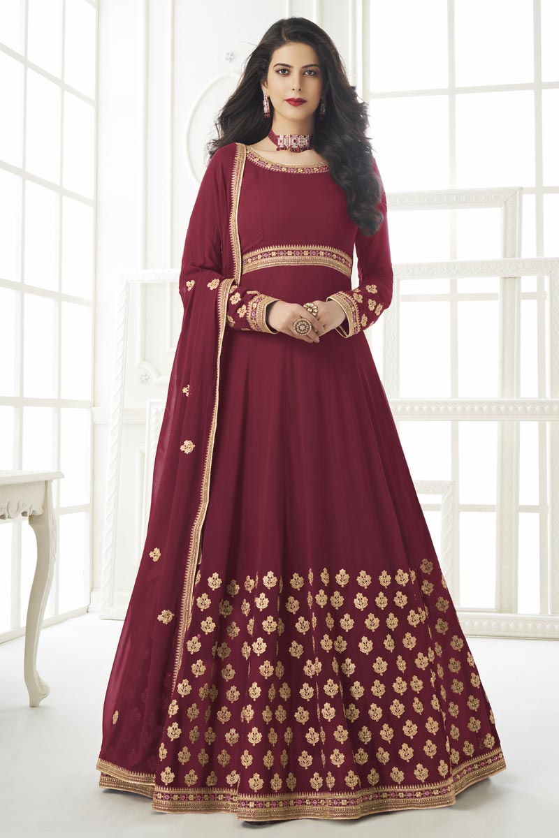 Embroidery Work Sangeet Wear Stylish Anarkali Suit In Maroon Color Georgette Fabric