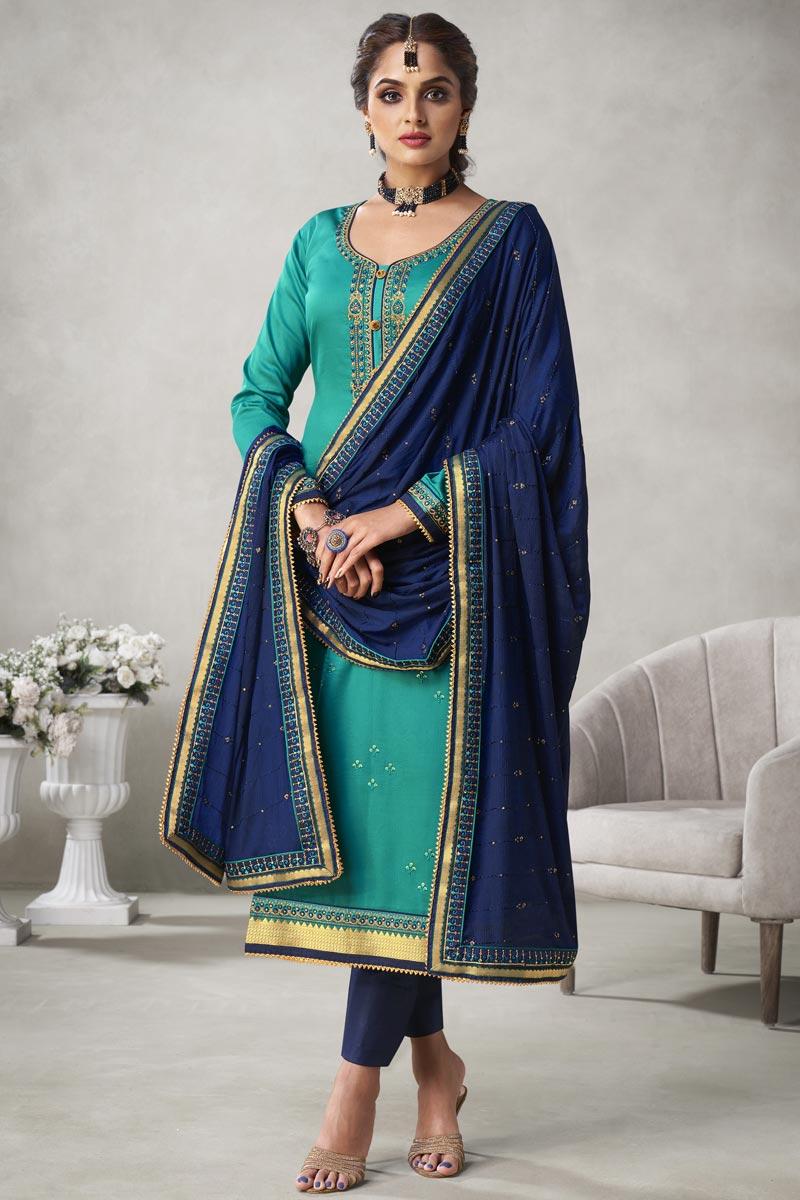 Cyan Color Embroidered Straight Cut Salwar Kameez In Art Silk Fabric