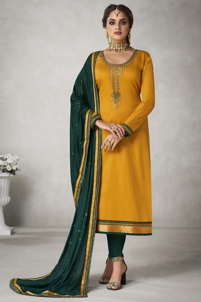 Occasion Wear Yellow Color Embroidered Straight Cut Salwar Kameez In Art Silk Fabric