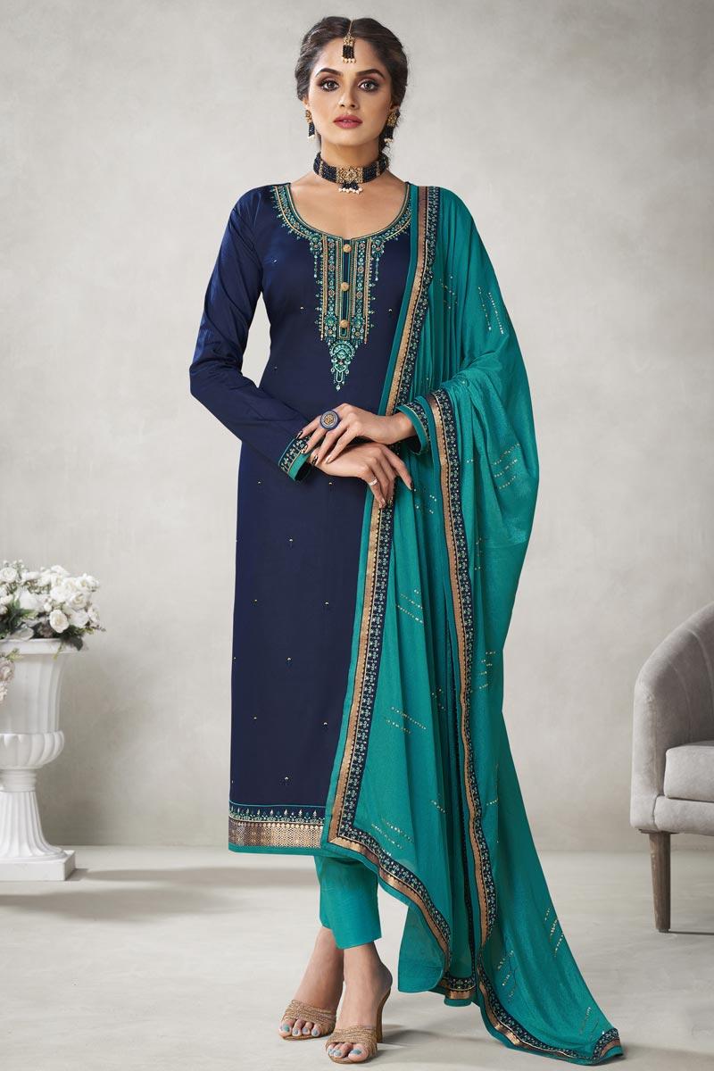 Embroidery Work Navy Blue Color Art Silk Fabric Straight Cut Salwar Suit