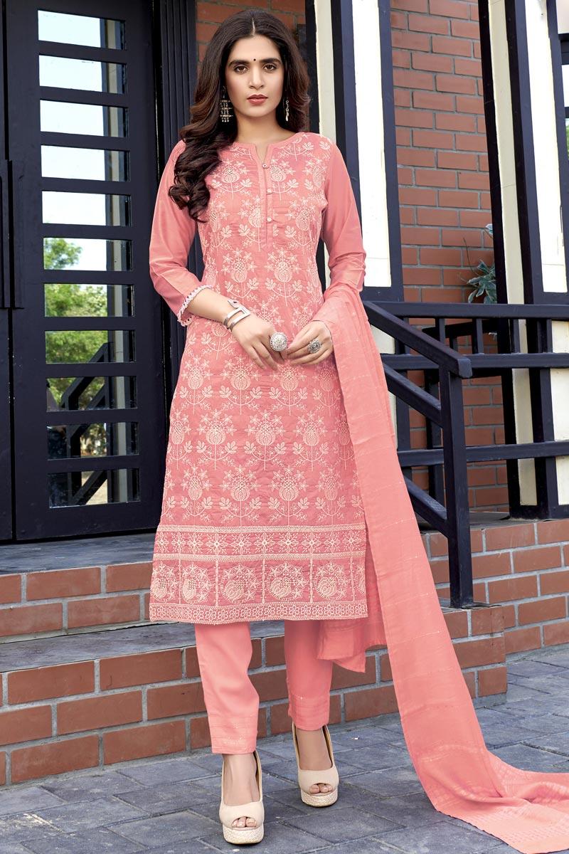 Pink Color Festive Wear Lakhnavi Work Viscose Fabric Readymade Salwar Suit