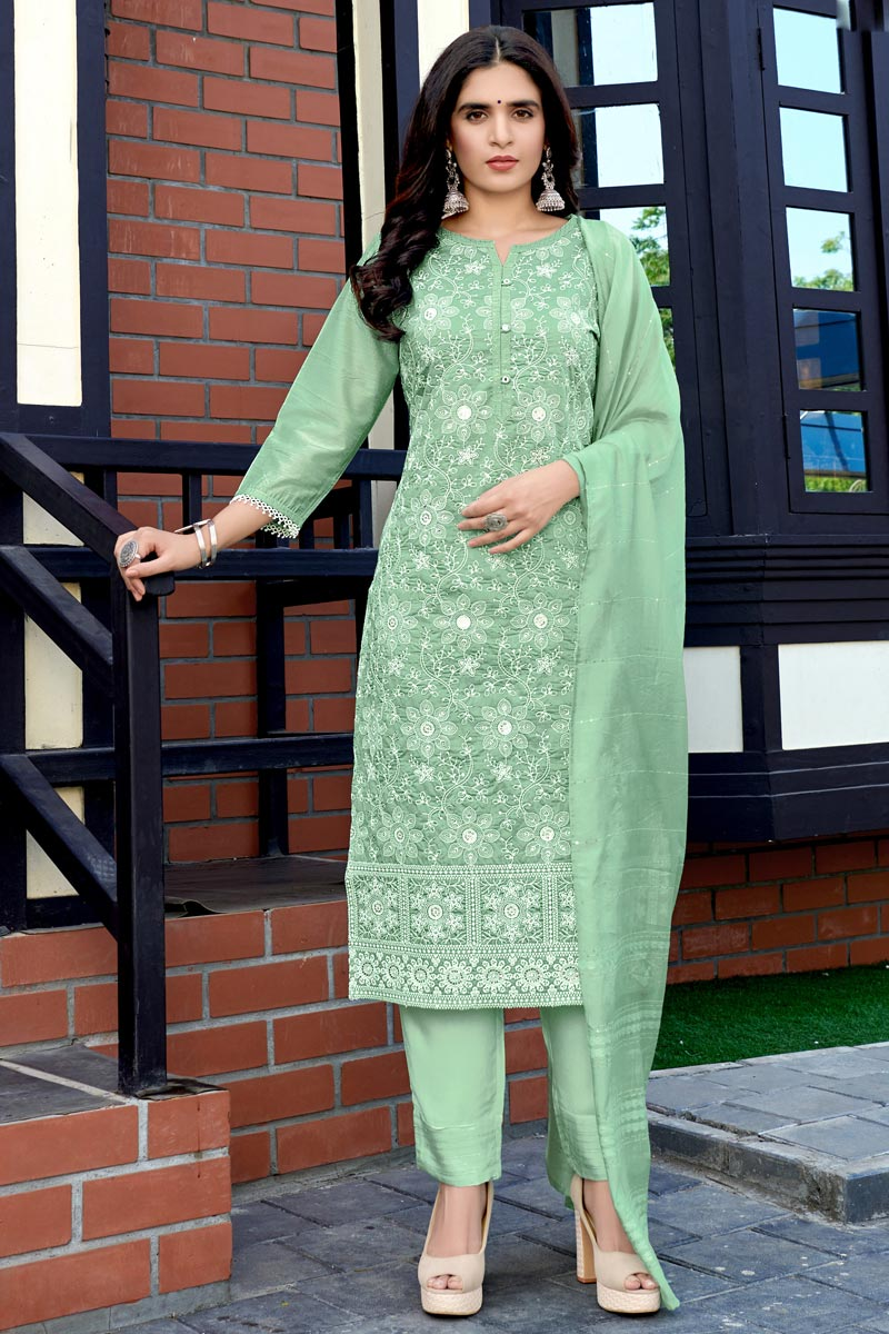 Sea Green Color Function Wear Lakhnavi Work Viscose Fabric Readymade Dress