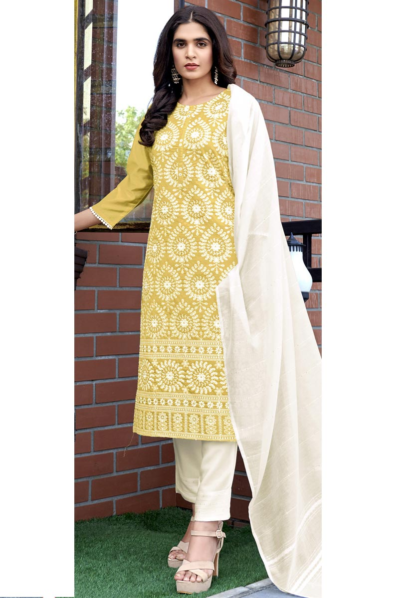 Viscose Fabric Party Wear Yellow Color Lakhnavi Work Readymade Suit