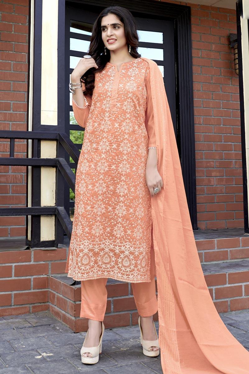 Peach Color Viscose Fabric Function Wear Lakhnavi Work Readymade Salwar Kameez