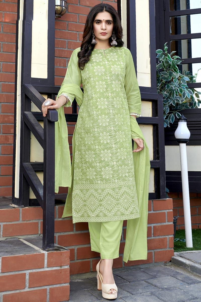 Party Wear Viscose Fabric Green Color Lakhnavi Work Readymade Dress