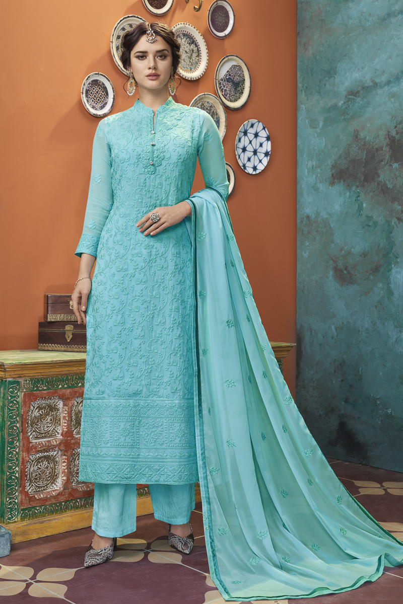 Cyan Color Georgette Fabric Function Wear Embroidered Readymade Palazzo Suit