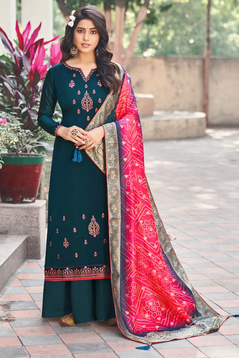Teal Color Festive Wear Embroidered Palazzo Dress In Art Silk Fabric
