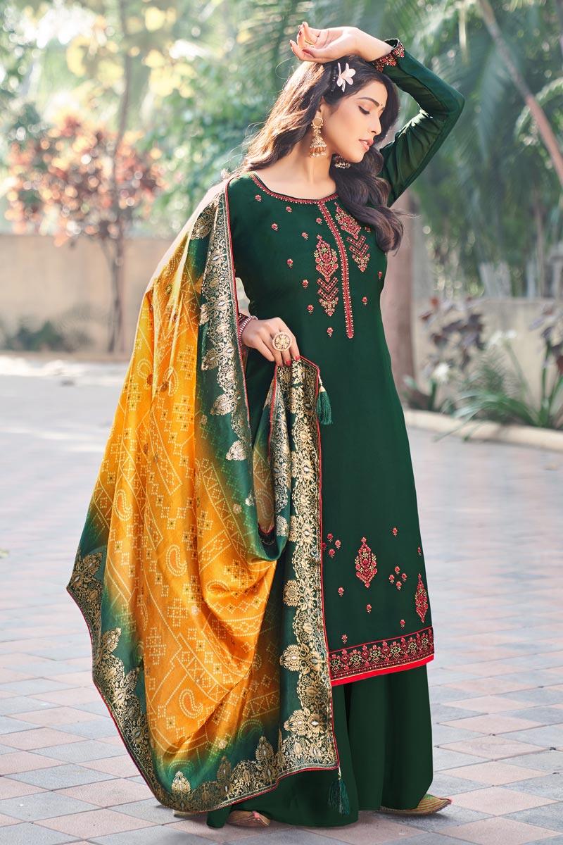 Art Silk Fabric Festive Wear Embroidered Palazzo Dress In Dark Green Color