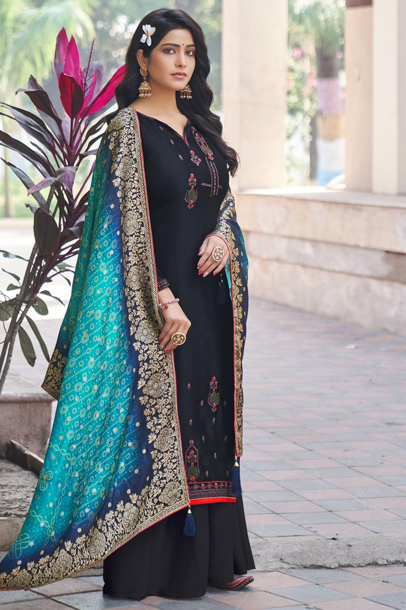 Festive Wear Navy Blue Color Embroidered Art Silk Fabric Palazzo Suit