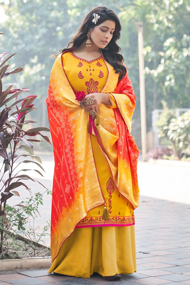 Festive Wear Yellow Color Embroidered Palazzo Dress In Art Silk Fabric