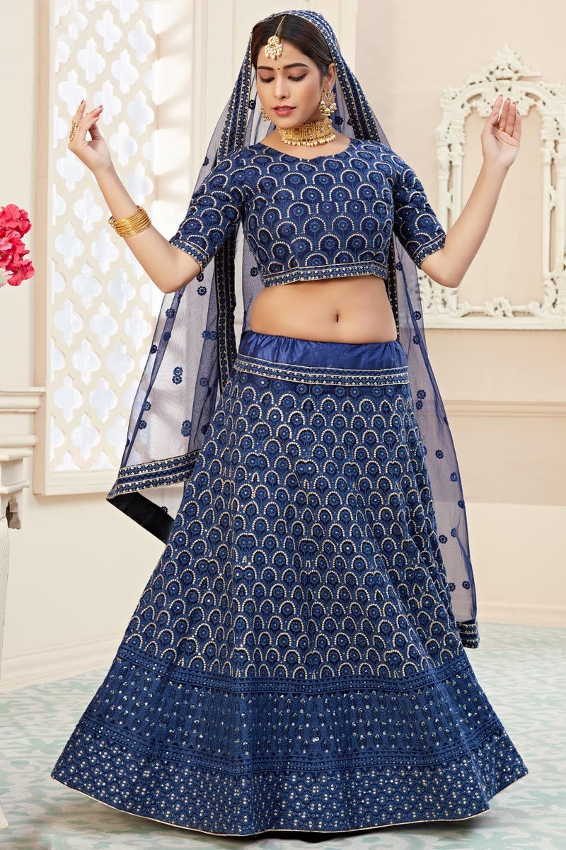Navy Blue Color Sangeet Function Wear Embroidered Net Fabric Lehenga