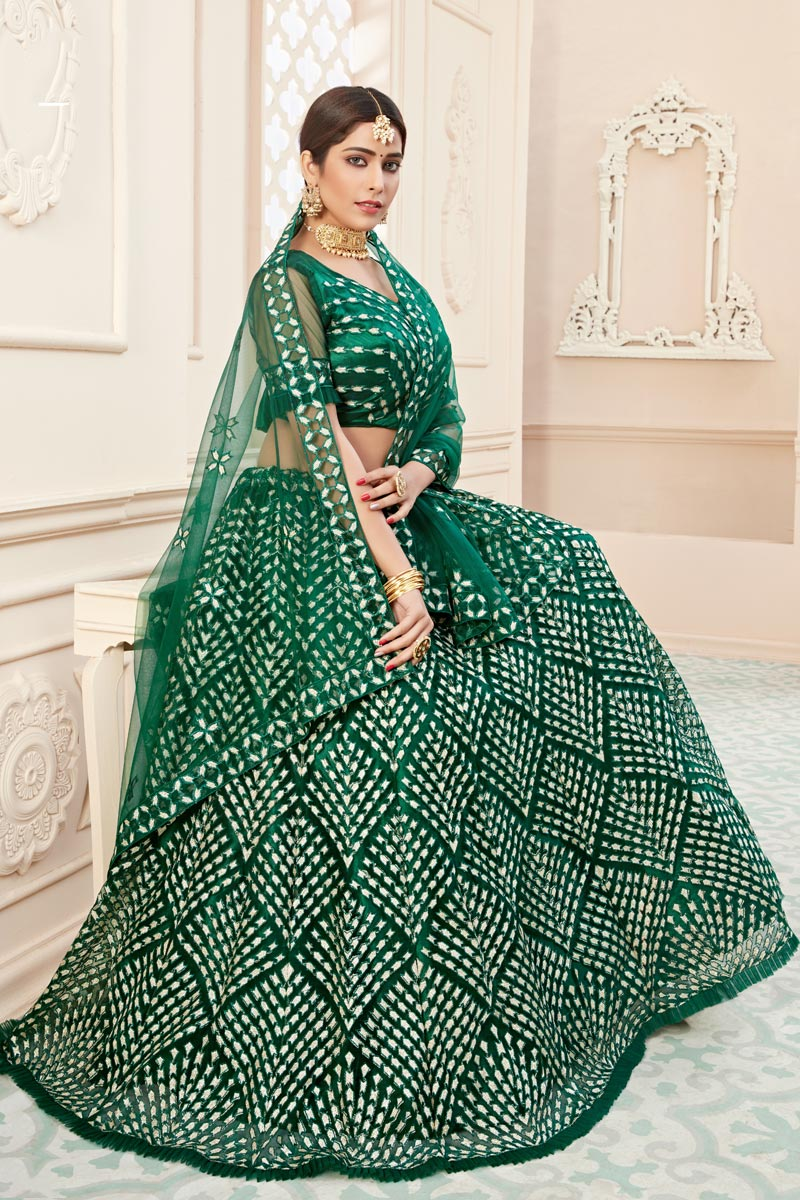 Net Fabric Sangeet Function Wear Green Color Embroidered Lehenga
