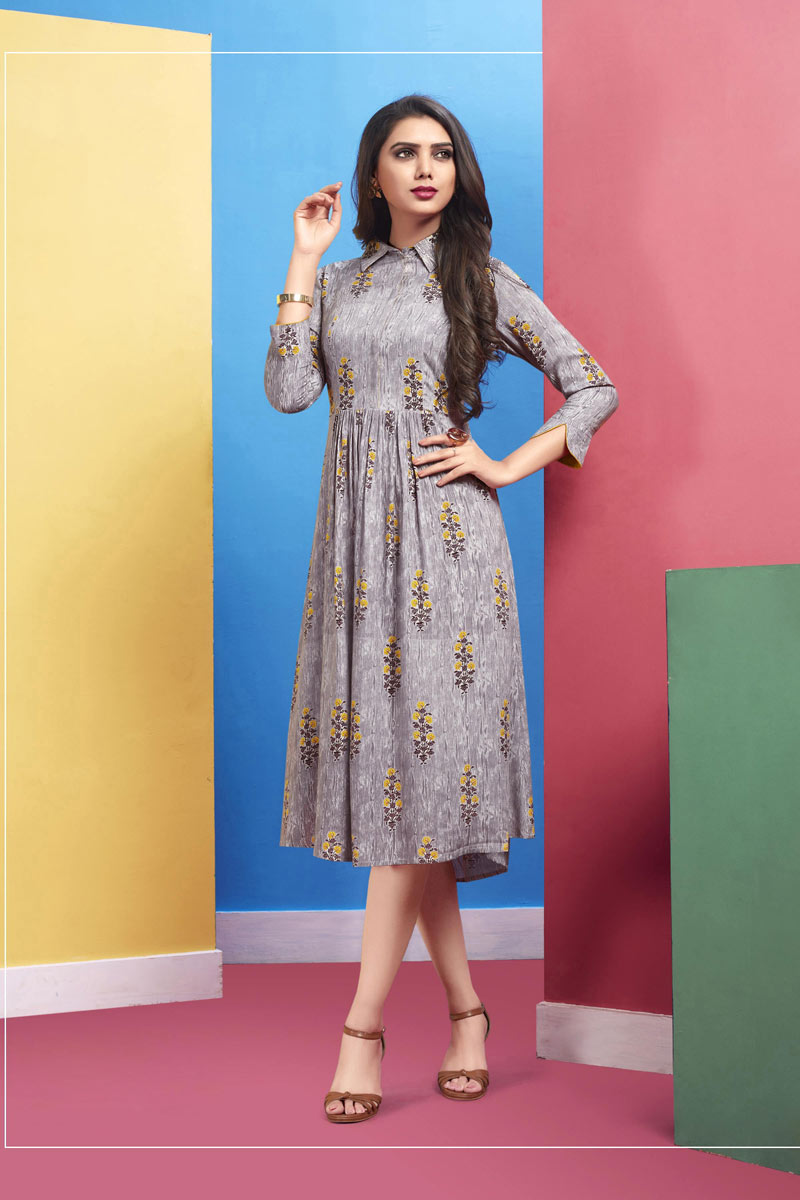 Rayon Fabric Party Wear Kurti In Grey Color