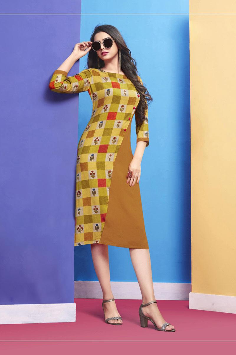 Party Style Mustard Color Stylish Long Kurti