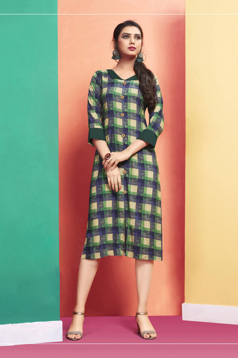 Designer Party Wear Cream And Navy Blue Color Rayon Fabric Kurti