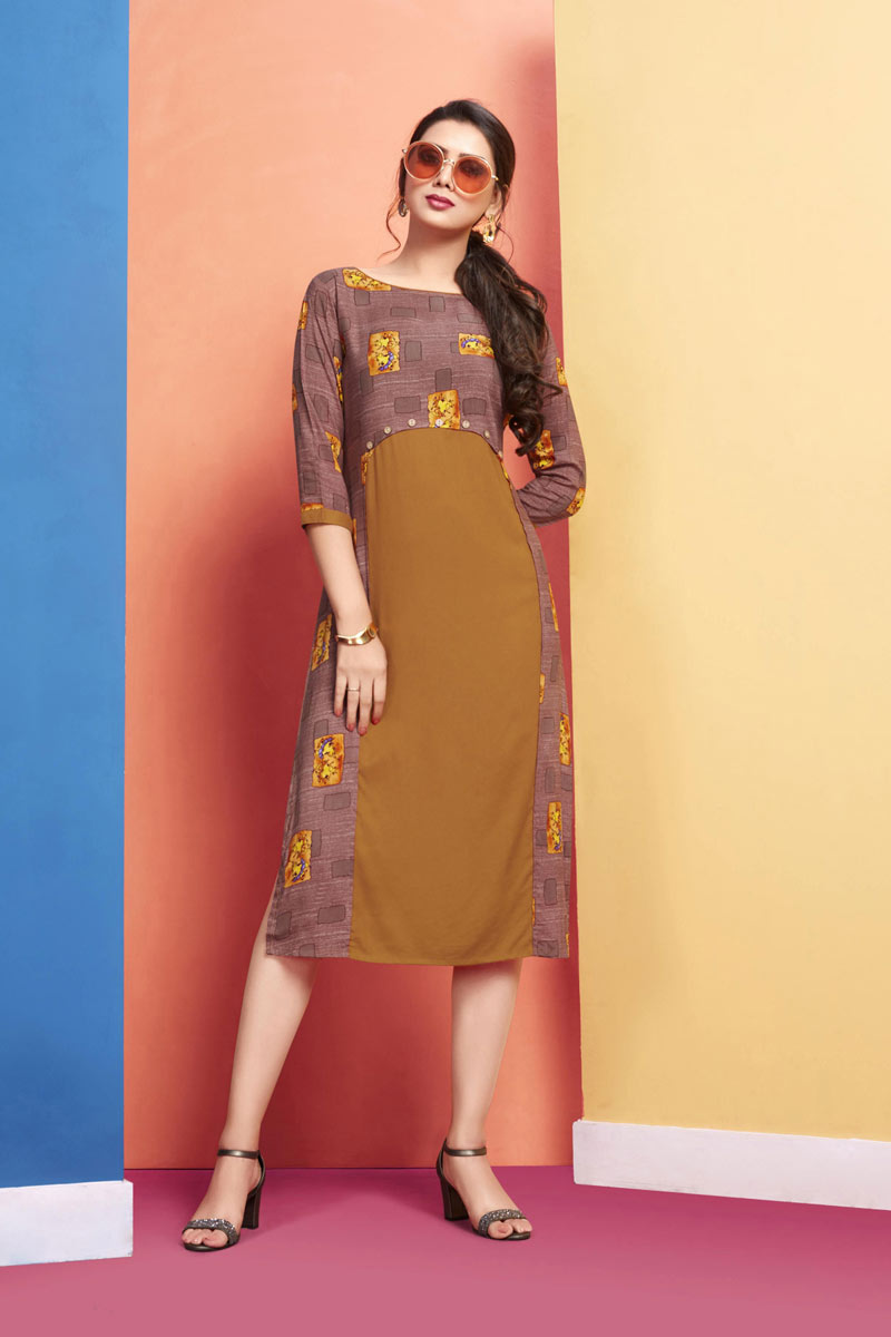 Coffee And Brown Color Party Wear Kurti In Rayon Fabric