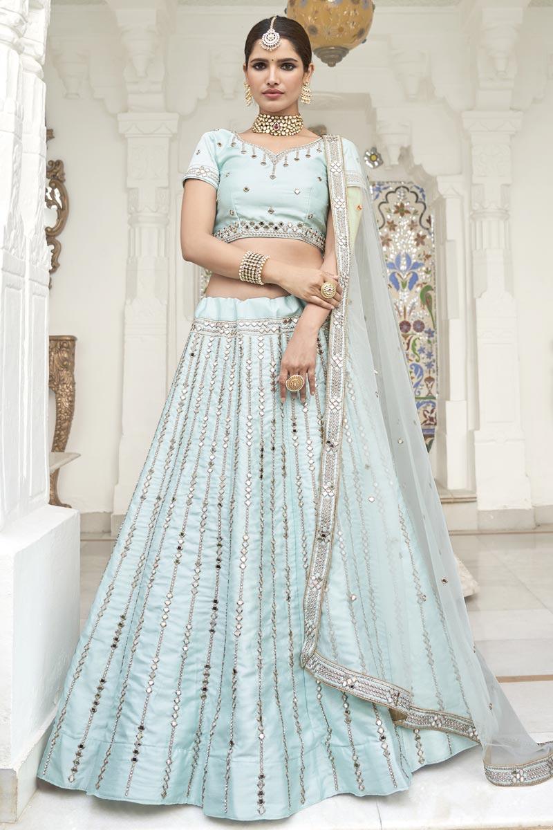 Silk Fabric Sangeet Wear Light Cyan Color Mirror Work Lehenga Choli