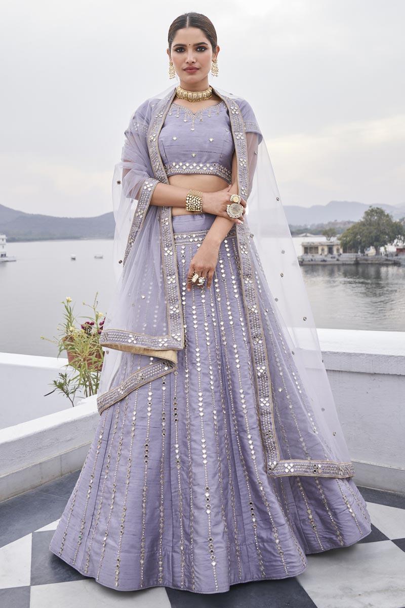 Silk Fabric Sangeet Wear Lavdender Color Mirror Work Lehenga