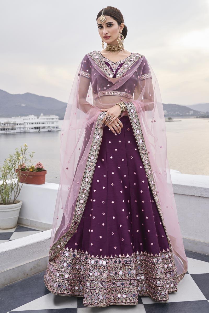 Purple Color Sangeet Wear Mirror Work Silk Fabric Lehenga