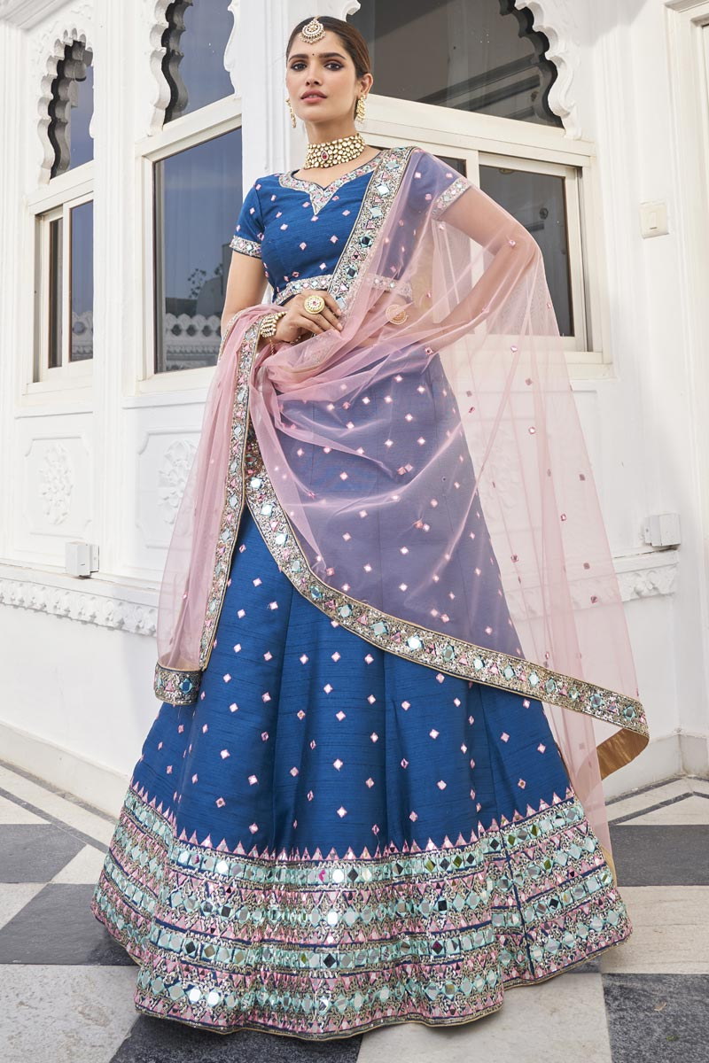 Blue Color Sangeet Wear Mirror Work Lehenga In Silk Fabric