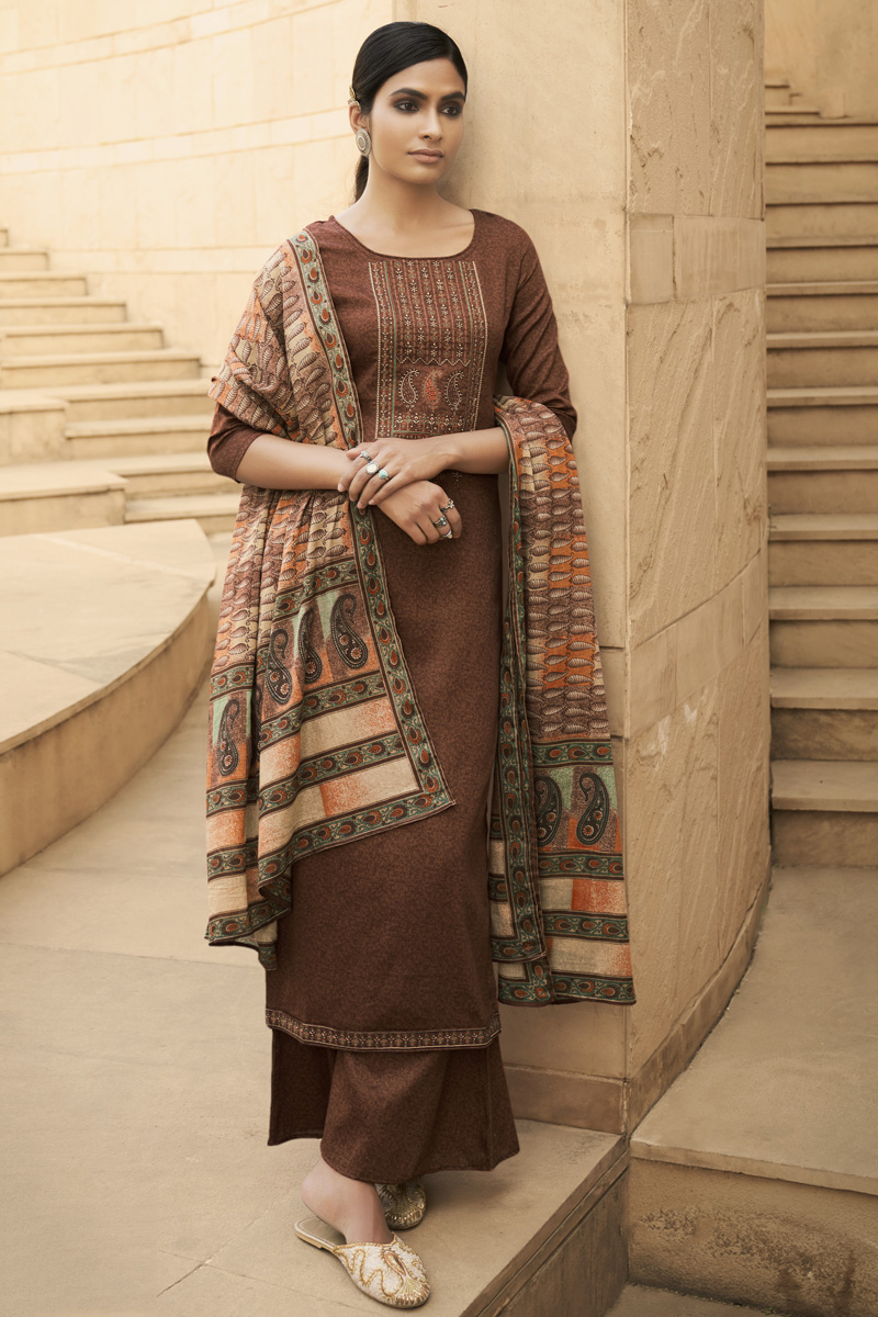 Brown Color Party Style Chic Printed Embroidered Cotton Fabric Palazzo Suit