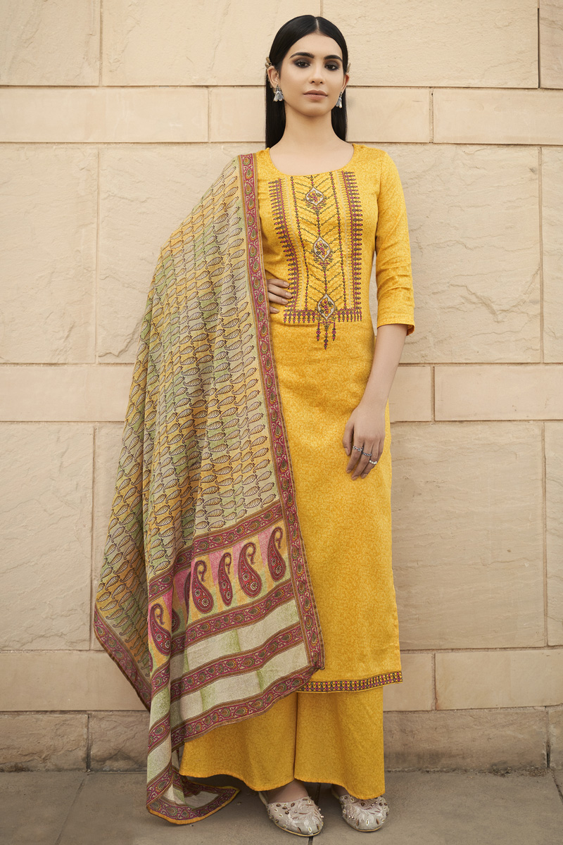Yellow Color Party Style Chic Printed Embroidered Cotton Fabric Palazzo Dress