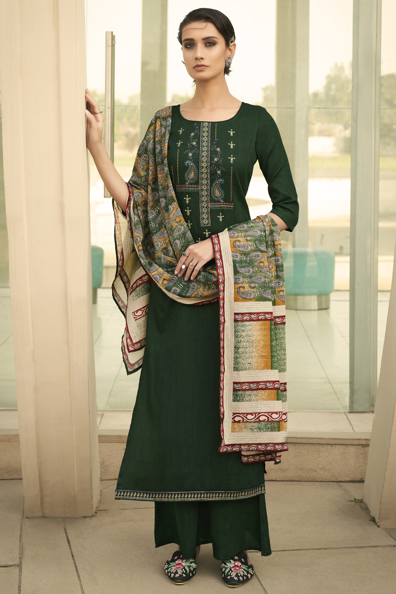 Cotton Fabric Party Style Dark Green Color Chic Printed Embroidered Palazzo Suit