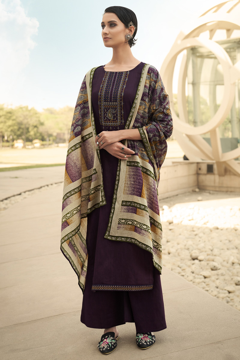 Purple Color Cotton Fabric Party Style Chic Printed Embroidered Palazzo Dress