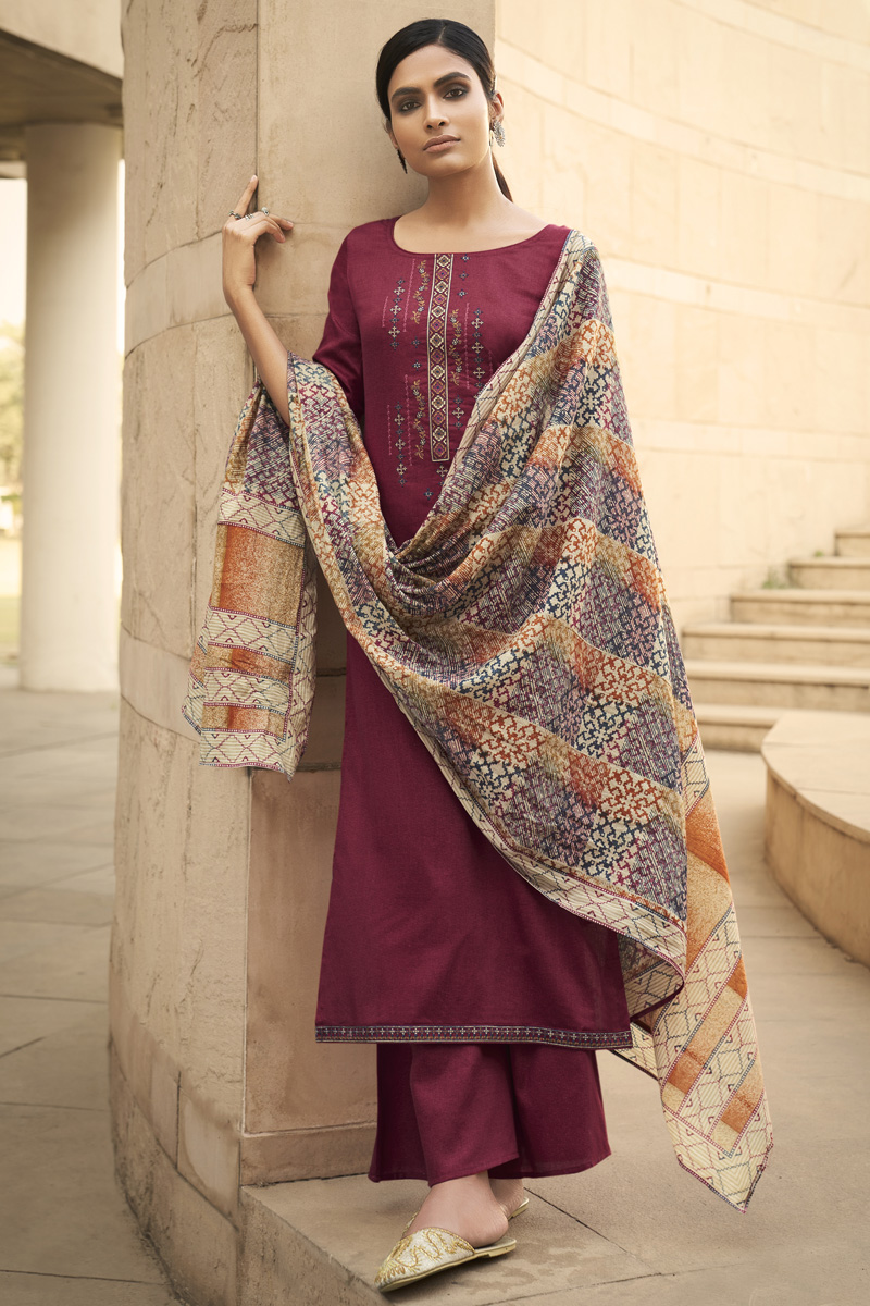 Cotton Fabric Party Style Chic Printed Embroidered Palazzo Dress In Wine Color