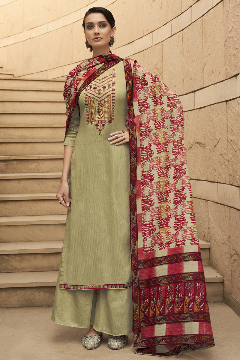 Party Style Cotton Fabric Beige Color Chic Printed Embroidered Palazzo Suit