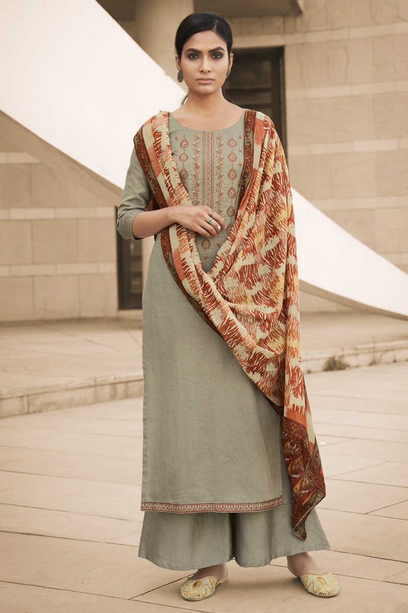 Cotton Fabric Party Style Chic Printed Embroidered Grey Color Palazzo Dress