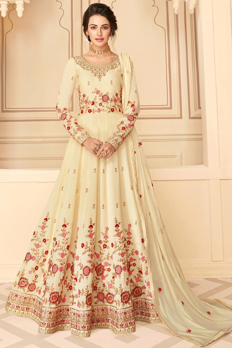 Beige Color Sangeet Wear Embroidered Floor Length Anarkali Dress In Art Silk Fabric