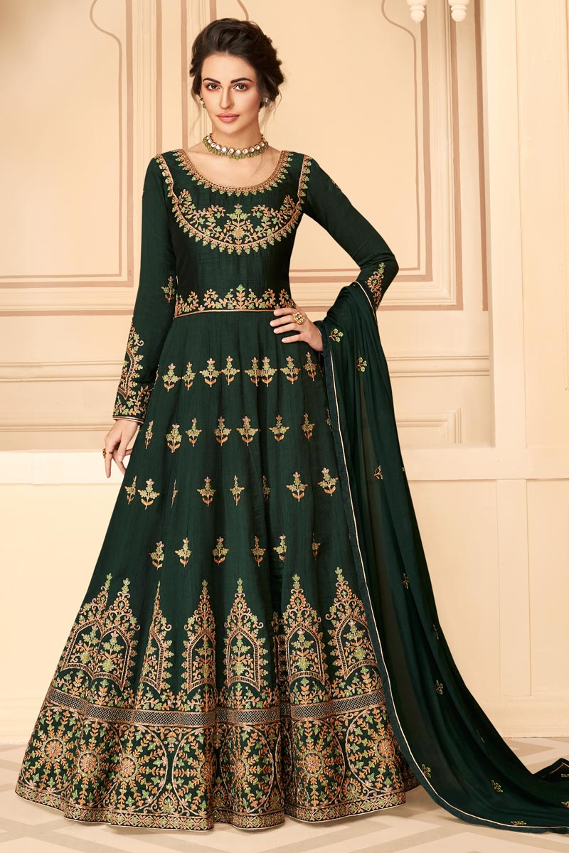 Sangeet Wear Dark Green Color Art Silk Fabric Embroidered Long Length Anarkali Suit
