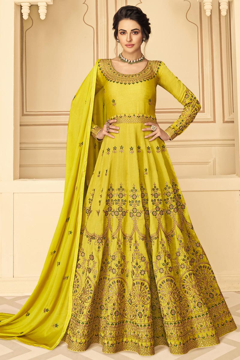 Art Silk Fabric Sangeet Wear Yellow Color Long Length Embroidered Anarkali Suit