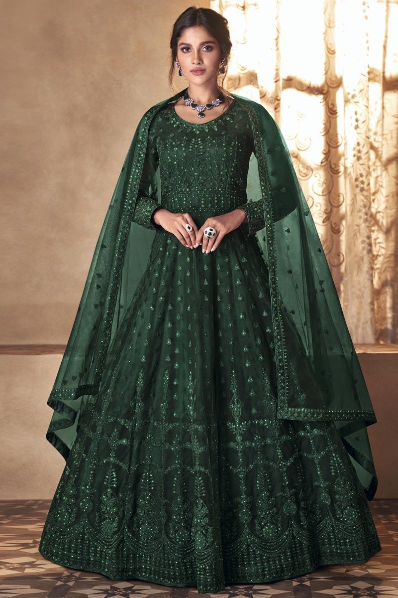 Dark Green Color Festive Wear Embroidered Net Fabric Anarkali Salwar Suit