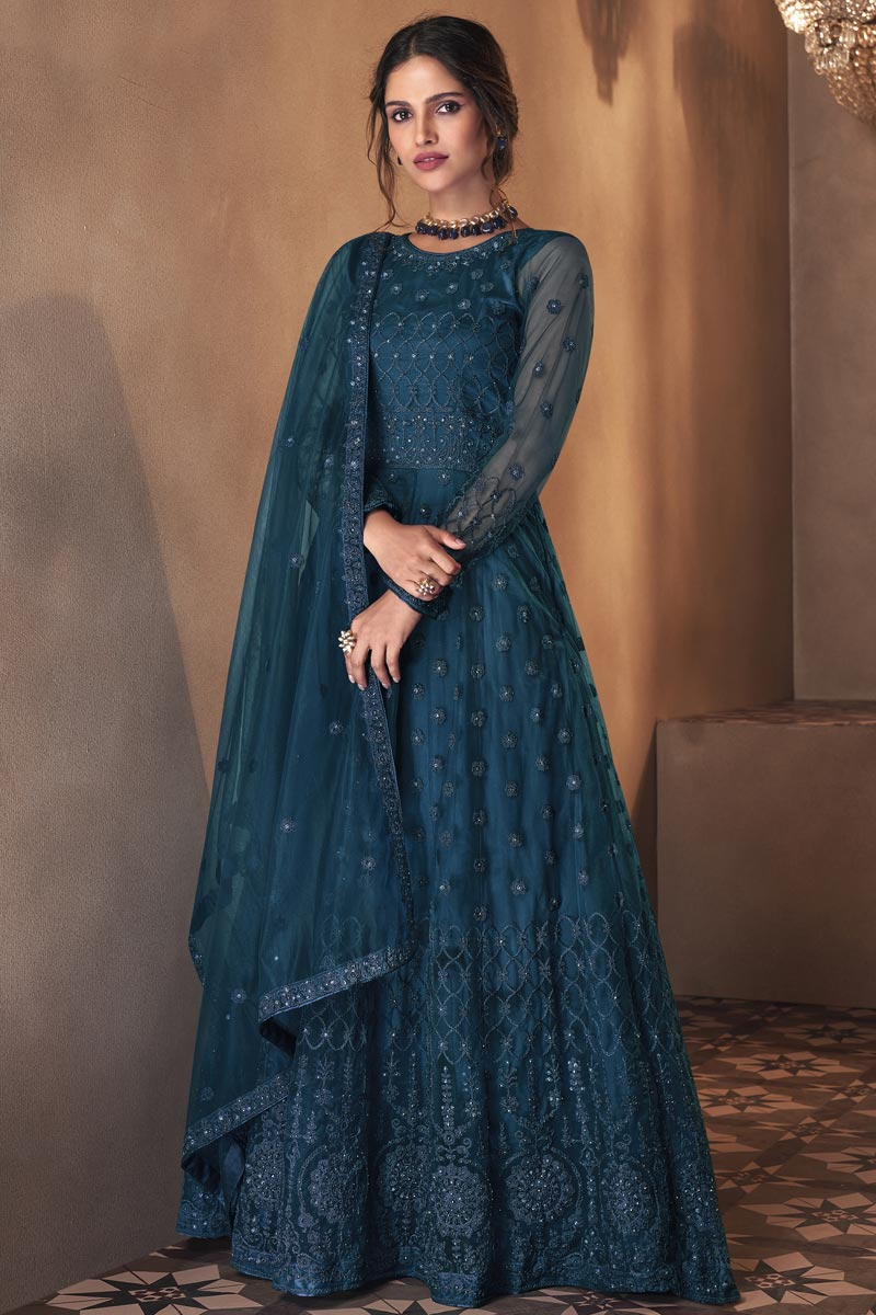Net Fabric Party Wear Teal Color Embroidered Anarkali Suit