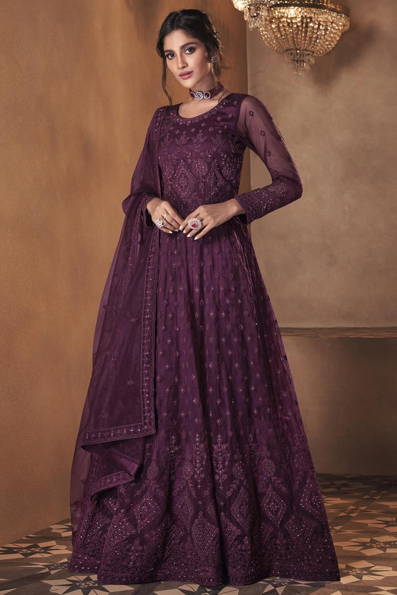 Net Fabric Sangeet Wear Embroidered Anarkali Salwar Kameez