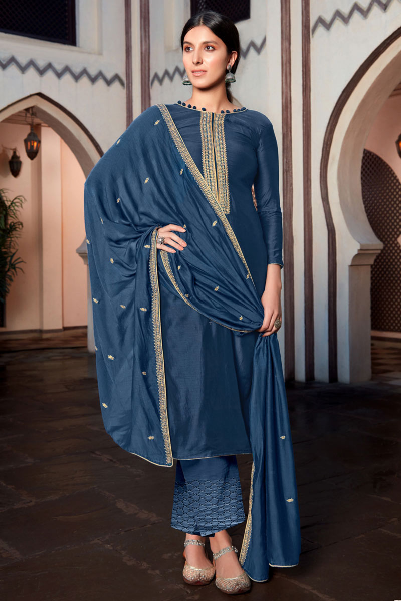Festive Wear Cotton Silk Fabric Embroidered Straight Cut Suit In Navy Blue Color