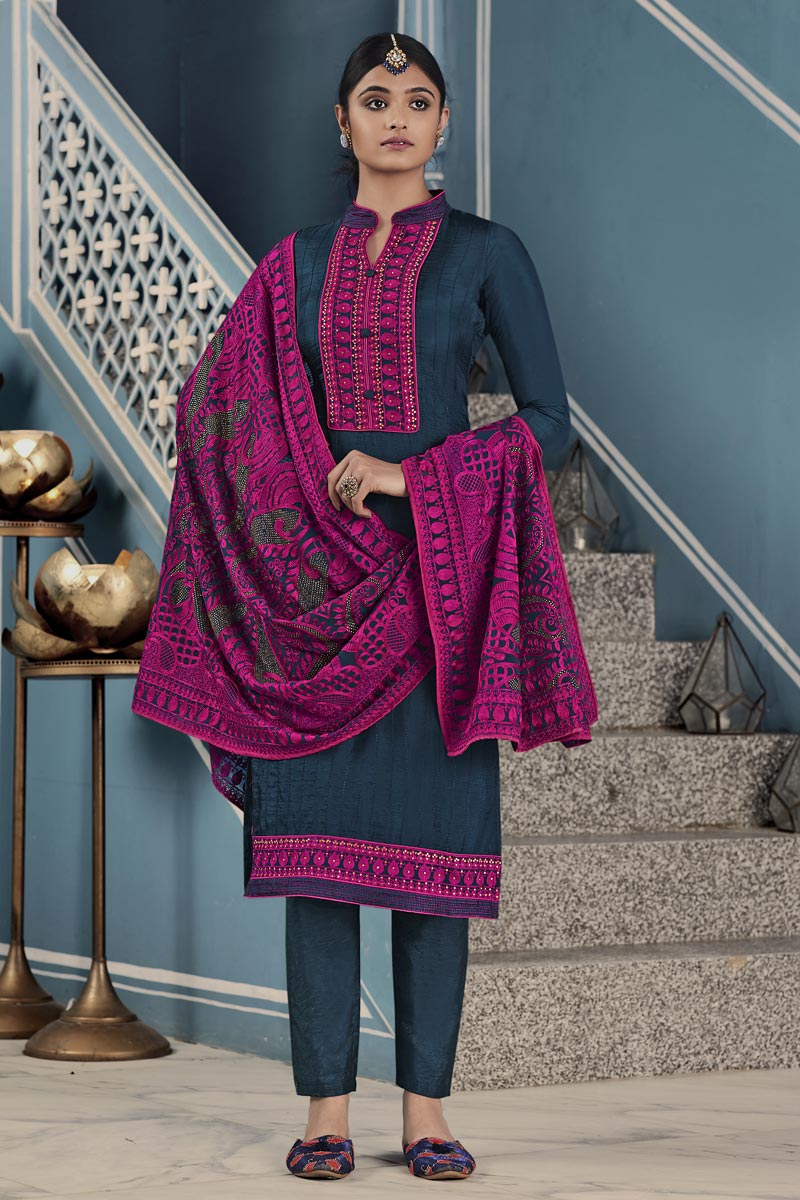 Art Silk Party Wear Thread Embroidered Straight Cut Suit In Grey Color