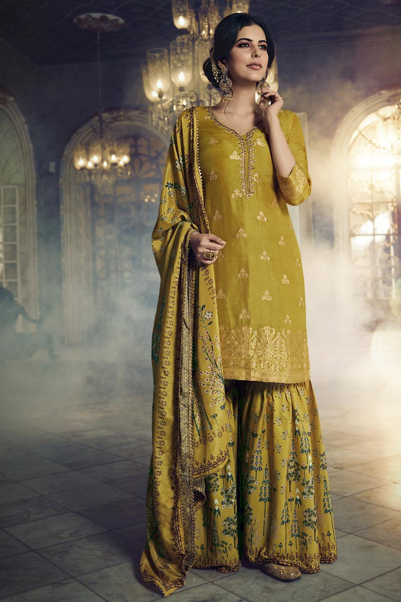 Function Wear Fancy Mustard Color Embroidered Sharara Suit In Art Silk Fabric