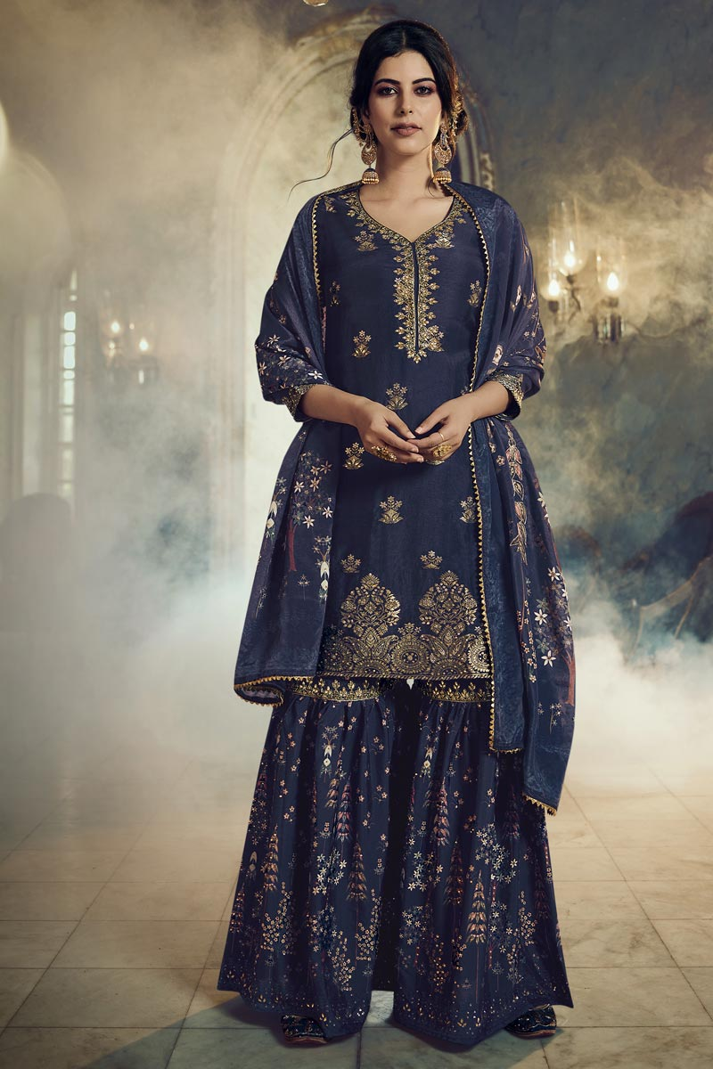 Navy Blue Color Function Wear Art Silk Fabric Fancy Embroidered Sharara Dress