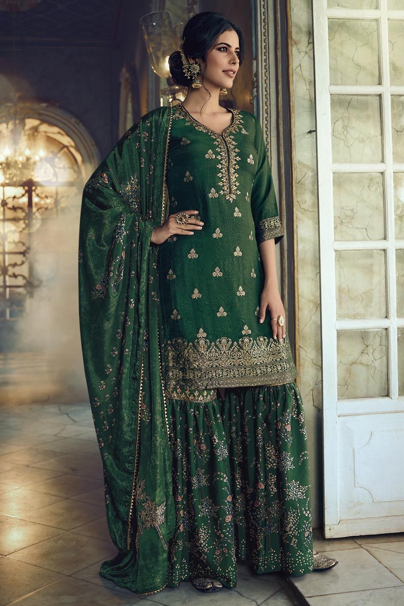 Function Wear Green Color Fancy Embroidered Sharara Suit In Art Silk Fabric