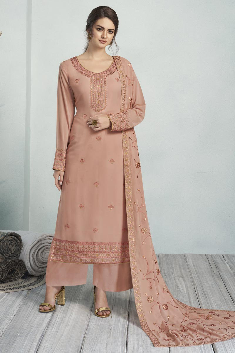 Festive Wear Alluring Georgette Fabric Embroidered Palazzo Suit In Pink Color