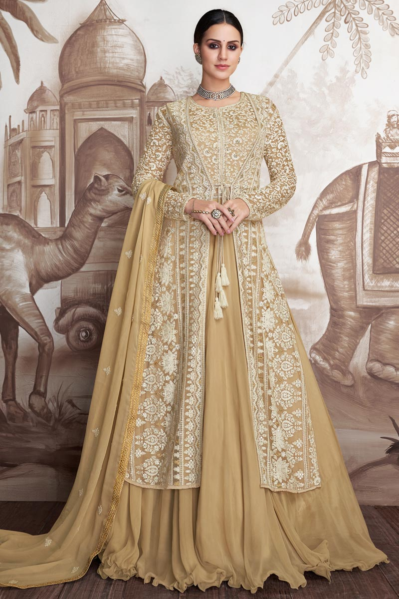 Eid Special Designer Beige Color Georgette And Net Fabric Embroidered Floor Length Anarkali Suit