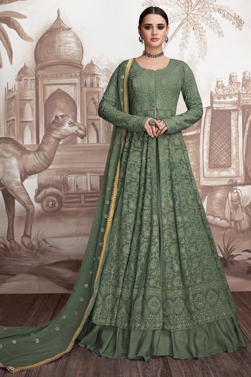 Designer Georgette And Net Fabric Embroidered Dark Green Color Floor Length Anarkali Suit